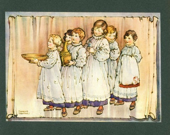 1913, Six Choir Boys Singing, Nursery Wall Art, Kids Bedroom Decor, Children Singing, Thomas Ingoldsby Legend, Kids Picture, Religious Gift