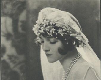 The Bride, Art Deco, Monochrome Portrait in Photogravure by Hugh Cecil, 1926, Book of Beauty
