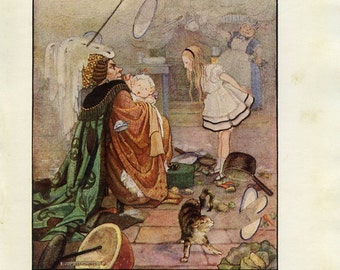 Alice in Wonderland, Vintage Print 1922, Cook Duchess Baby Cheshire Cat, Children, Gwynedd Hudson, Kids Nursery Decor, Fairy Tale Art