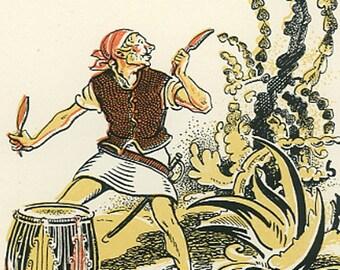 Peter Pan Vintage Print, Smee Beating Drum, 1931, Frameable Art, Nursery, J. M. Barrie, Children, Gwynedd Hudson