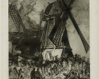 Skittle Match, Windmill, Dixmuden, Print from an Etching by Frank Brangwyn, 1924, Plate 12, Fine Art Society