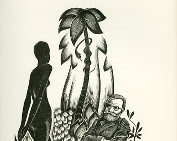 Black Girl, Old Man, Crocodile, Vintage Print from Woodcut by John Farleigh, Art Deco, Nouveau, Suitable for framing.
