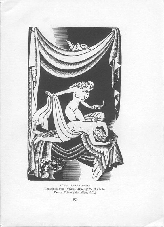 Vintage Print, Psyche and Cupid, American Illustration, Boris Artzybasheff,  Nude, Woodcut
