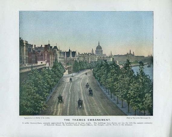Antique Typogravure, The Thames Embankment, London 1897, J. J. Keliher, Scarce Photo