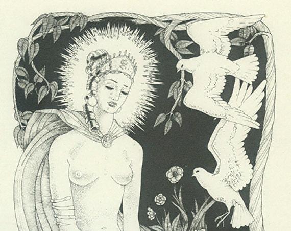 Venus and Adonis, Vintage Print, 'The crystal tide....' Shakespeare, Poetry, Illustration,