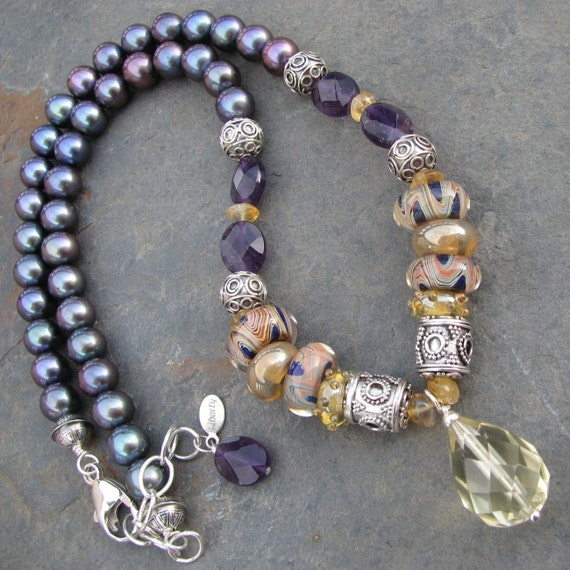 Night into Day artisan lampwork, peacock freshwater pearls, amethyst, citrine pendant necklace