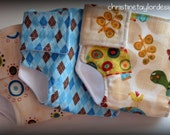 Doll Diapers - set of three, turtles dots and argyle