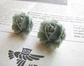 Storm Blue - Gray Rose Flower Stud Earrings