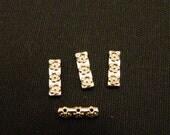 Sterling Silver 3-strand Rose Bud Spacer Bars Set of 4