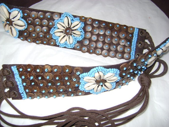 Cowrie Shell with Seed and Wood Bead Belt