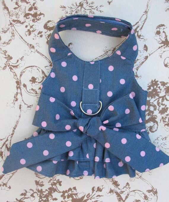 Little Dog Harness Dress Polka Dots XS