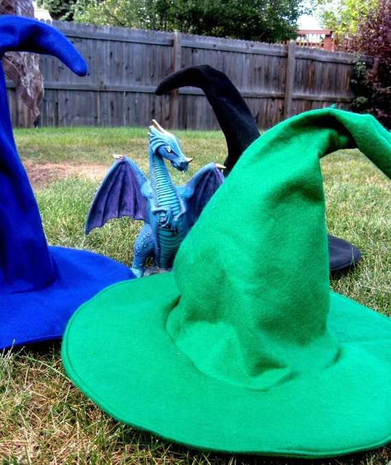 Witch Hat Felt Wicca hat Potter costume-Custom Colors to Order