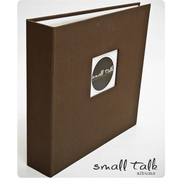 BOY OR GIRL - MODERN BABY MEMORY BOOK  (Chestnut Brown Cloth Cover) - FREE PERSONALIZATION