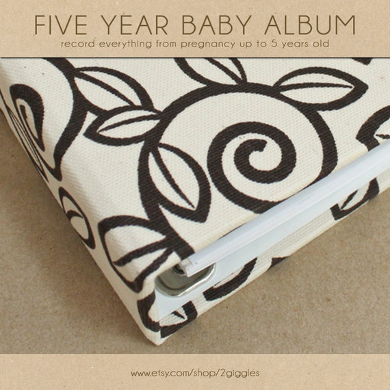 Baby Book (Pregnancy - 5 Years) - Chocolate Trellis/Natural Fabric  (134 designed journaling pages & personalization included with album)