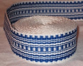 Blue and white hand-woven inkle trim (over 14 feet)
