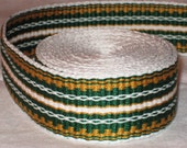 Kelly green, burnished gold, and white hand-woven inkle trim (over 14 feet)
