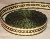 Green, gold, and white hand-woven inkle trim (over 14 feet)