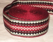 Burgundy red, black, and cream hand-woven inkle trim (over 14 feet)