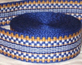 Blue, gold, and white inkle trim (over 14 feet - hand woven)