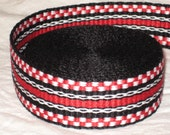 Black, white, and red inkle trim (over 14 feet - hand woven)