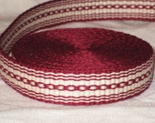 Burgundy red and cream hand woven inkle trim (over 14 feet)