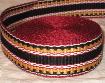 Burgundy red, black, gold, and white hand-woven inkle trim (over 14 feet)