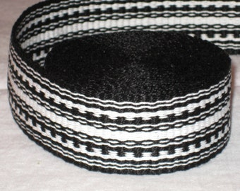 Black and white hand-woven inkle trim (over 14 feet)