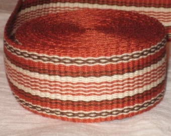 Rusty orange, brown, and cream hand-woven inkle trim (over 14 feet)