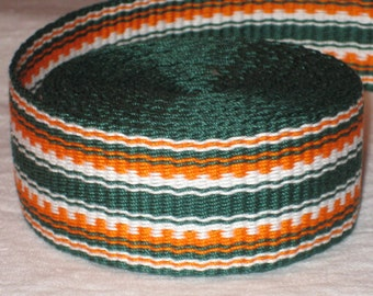 Green, orange, and white hand-woven inkle trim (over 14 feet)