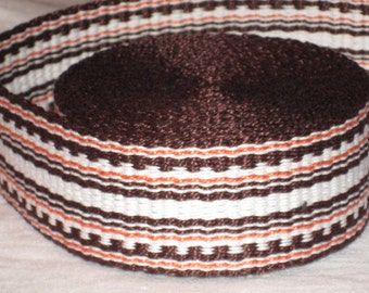 Brown, orange, and white hand-woven inkle trim (over 14 feet)