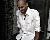 Men's White Long Sleeve Button-down Shirt w.\/ Epaulets