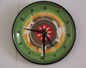 Handmade Southwestern porcelain Roadrunner Clock