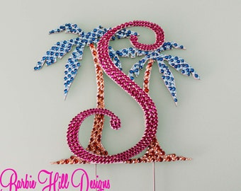 """6"""" Crystal Palm Tree Cake Topper"""