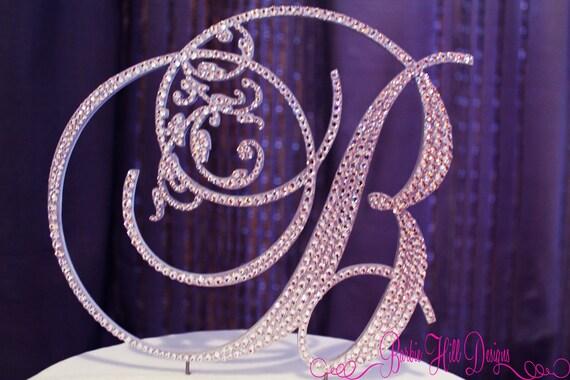 """6"""" Crystal Monogram Cake Topper"""
