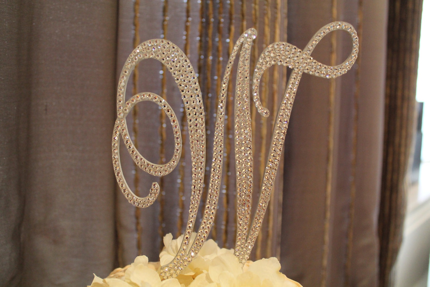 items similar to 6 u0026quot  crystal monogram cake topper letter w on etsy