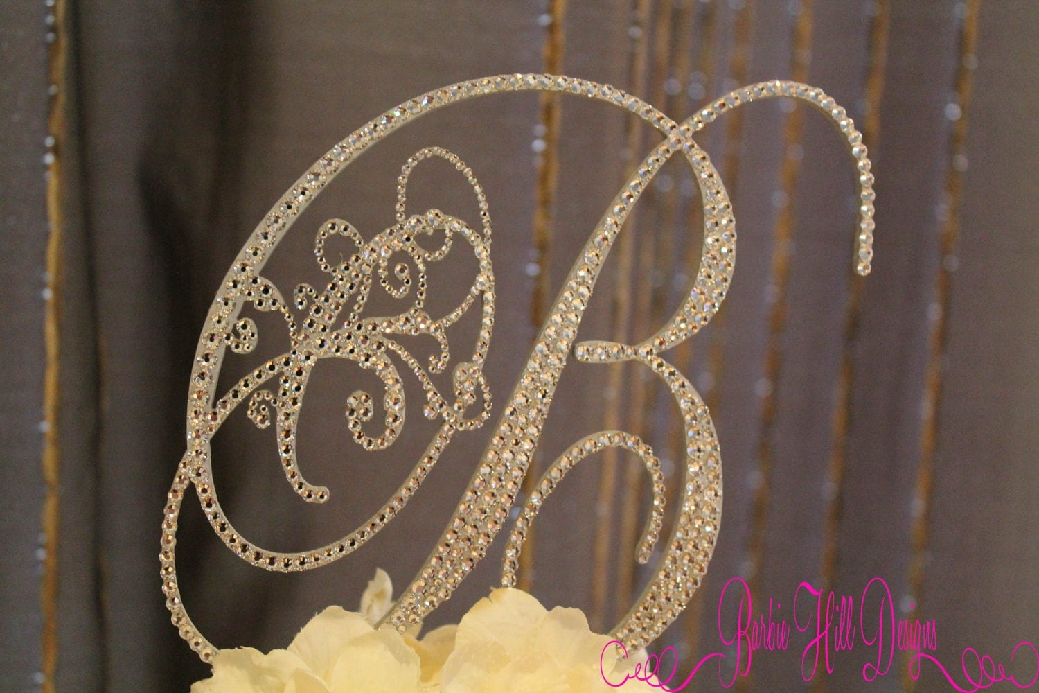 Cake Toppers Letters : 6 Crystal Monogram Cake Topper Letter B by BarbieHillDesigns