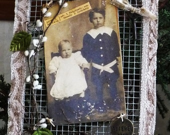 SPECIAL SALE PRICE Vintage Style Mixed Media Old Photo Art Piece on Wire Screen