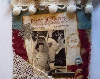 SALE PRICE Vintage Christmas:Visit to Santa Wall Pocket