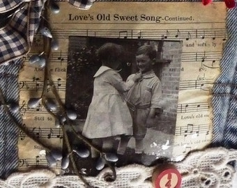 Vintage Photo And Love's Old Sweet Song Sheet Music Jean Wall Pocket