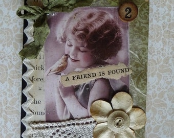 A Friend is Found Vintage Style Journal