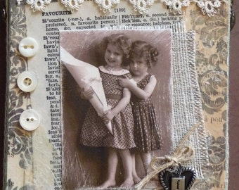 Favorite Friend Vintage Collage Canvas