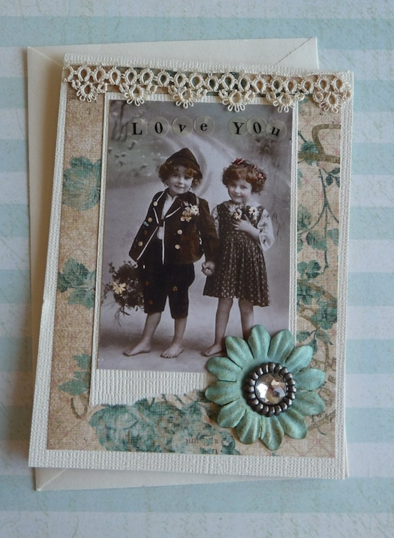 Love You Greeting Card  with Old Postcard Image