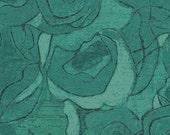 Tonal Roses in Teal from Gallery Fiori by Karen Tusinski - Fat Quarter