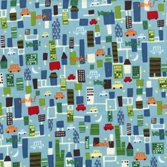 Beep Beep Aqua City by Michael Miller fabrics- Fat Quarter