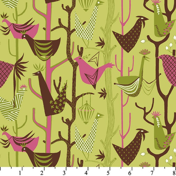Grand Tour from Victoria and Albert Birds in Olive - SPECIAL PRICE on ONE yard cuts