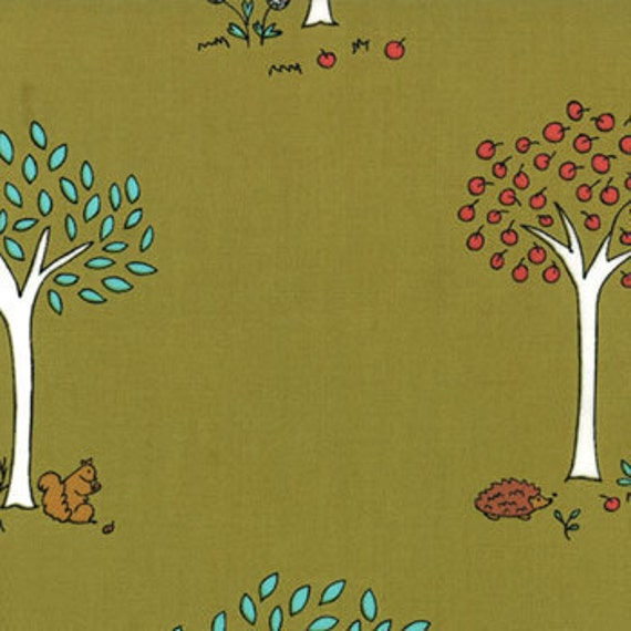 Little Apples Trees in Olive by Aneela  Hoey  - SPECIAL PRICE on Half Yard CUTS