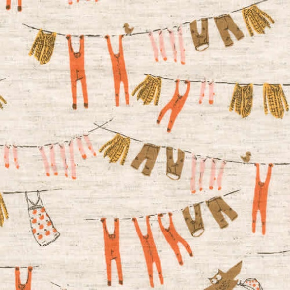 Far Far Away III  Clothesline in Orange and Brown by Heather Ross for Kokka- Fat Quarter