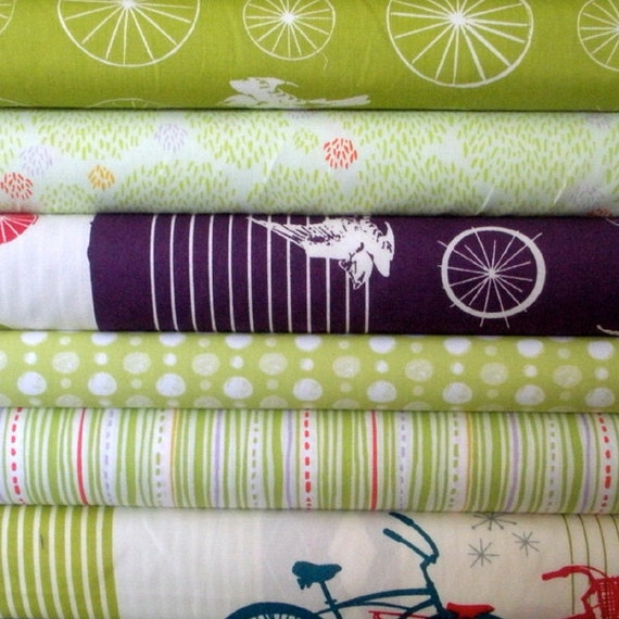 Organic Baby Bundle in Green and Purple - Fat Quarter Bundle