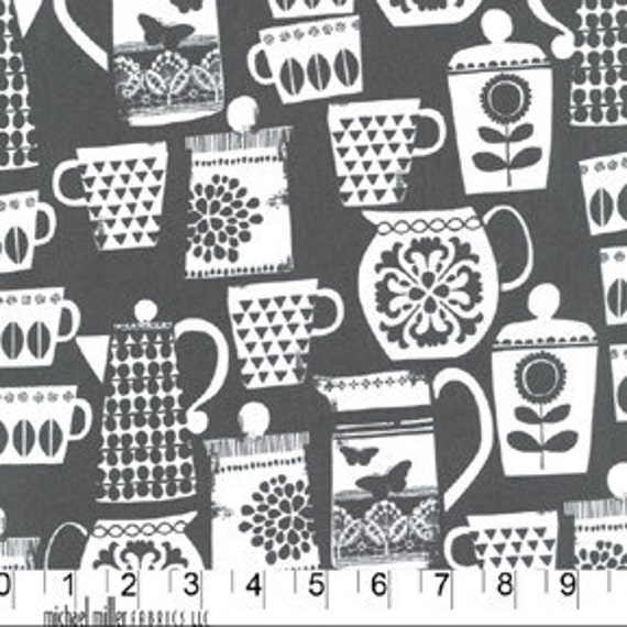 Put a Lid on It  in Charcoal from Retro Kitchen by Michael Miller Fabrics - Half Yard