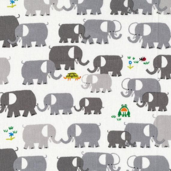 Elephants from Happy Drawing - Cloud9 Organic fabrics  - Half Yard